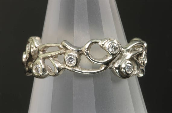 14K White Gold and Diamond Vine Ring by Cavallo Fine Jewelry