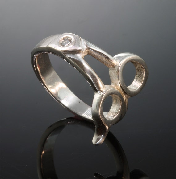 Sterling Silver Mans Pinkie Scissor  Ring© with 5pt Diamond by Cavallo Fine Jewelry