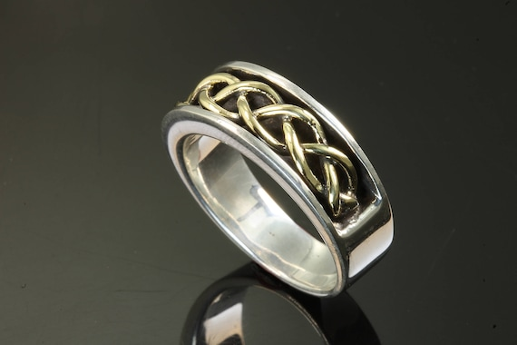 Handmade Sterling Silver and 18K Yellow Gold Ring, unisex jewelry, braids, gift for anyone, Father's Day masculine.