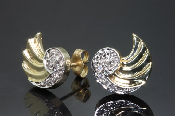 14K Yellow Gold Diamond Wing Vintage Earrings