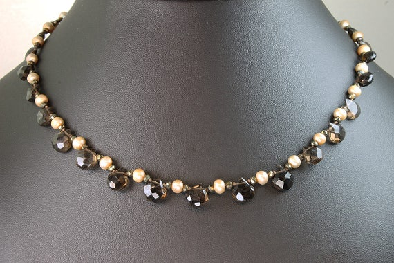 Smoky Quartz Briolette, Fresh Water Pearl and Mystic Spinel Necklace by Cavallo Fine Jewelry