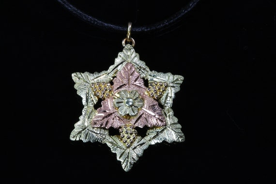 Vintage Black Hills Gold 10K/12K Yellow and Rose gold leaf pendant, six point star pendant, grape leaves, good luck gift for anyone