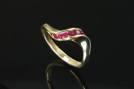 14K Yellow Gold and Ruby Twist Ring by Cavallo Fine Jewelry
