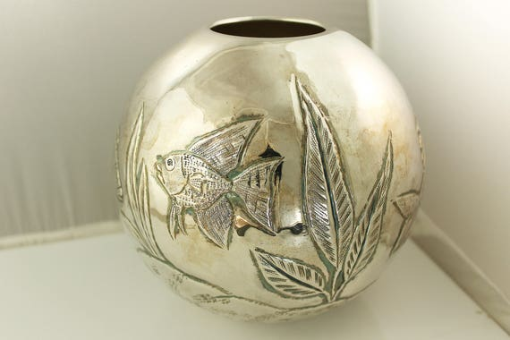 Sterling Silver Vintage Repoussed Fishbowl