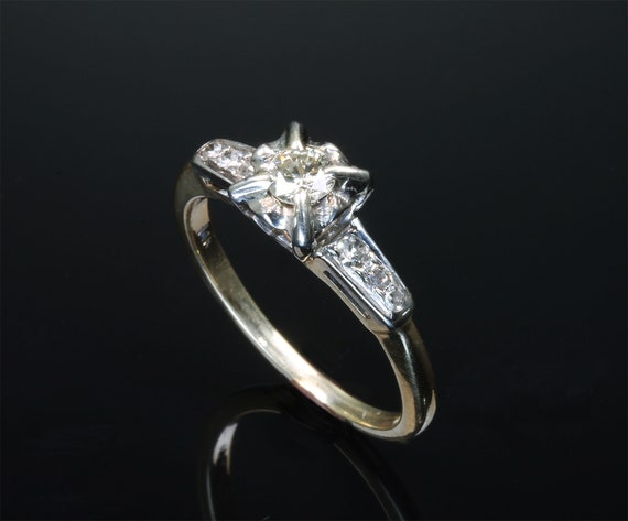 14K two tone gold engagement ring with champagne quarter carat center, unique, feminine fashion, marry me, promise me, bride to be