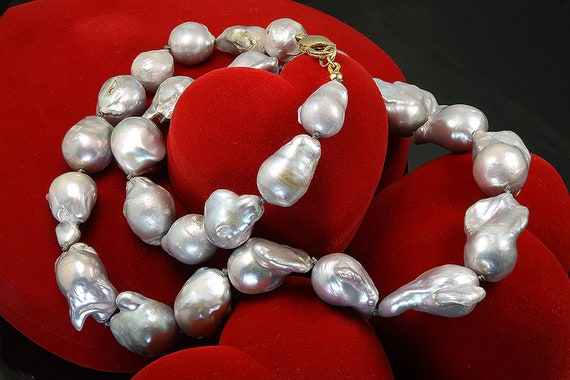 Large Gray Peacock Baroque Pearl Necklace 25""