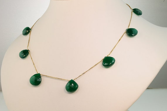 14K Gold and Green Onyx Necklace by Cavallo Fine Jewelry