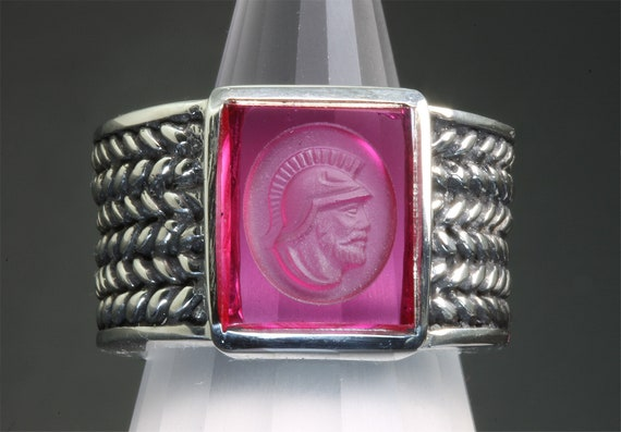 Sterling Silver and Vintage Created Ruby Intaglio Men's Ring by Cavallo Fine Jewelry