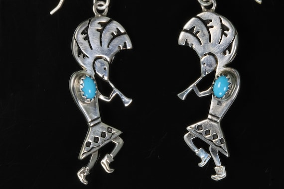Vintage sterling silver with turquoise cabochon Kokopelli earrings, drop dangles, Spirit of music and fertility great gift idea
