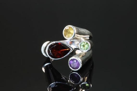 Vintage Mod sterling silver garnet citrine amethyst peridot ring,  size 8, retro boho colorful gemstone bold statement jewelry