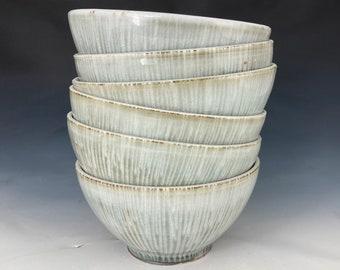 handmade pottery serving bowls - set of SIX ceramic bowls - gray and white pottery bowls - dinnerware bowls - noodle bowls - pho bowls