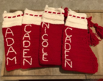 Christmas Stockings, crocheted and personalized
