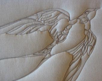 Fine Art Quilt Picture Soft Sculpture Swallow