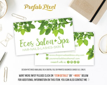 Printed Green Leaf Business Cards Printing with Glossy or Matte Finish for Small Handmade Businesses Etsy Shops Salons Stylists Nature Tree