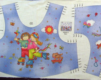 Summer Fun Bodice Top Vest Jumper Panel size 2 - 8 Girls Roller Skates Dog Skateboard - Sewing Panel - Jelly Bean Junction MMFab - OOP