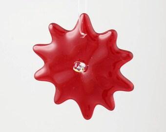 Cherry red christmas flower ornament, Christmas Ornament, glass star, tree decoration, christmas decoration, fused glass flower