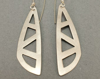 Sterling Silver Rounded Scalene Triangle Earrings