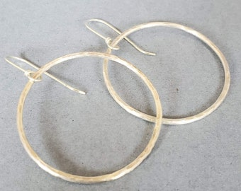 Ready to Ship Inch and a half Sterling Silver Oxidized Hoop Earrings