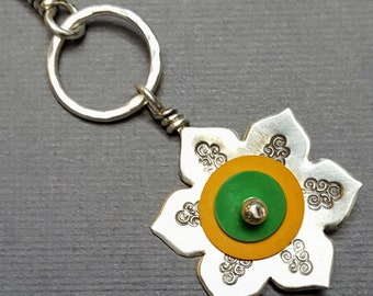 Sterling Silver Petite Green & Yellow Lotus Flower Pendant