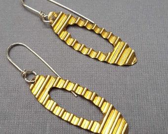Brass Corrugated Ellipse Dangle Earrings