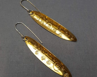 Brass with Spirals Ellipse Dangle Earrings