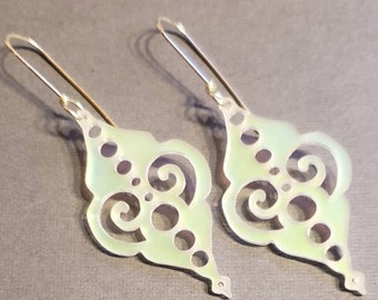 Sterling Silver and Iridescent Clear Ornamental Acrylic Earrings