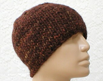 Brown knit hat, beanie hat, skull cap, brown rust camel tweed hat, winter hat, mens womens knit hat, winter hat, toque, hiking toboggan hat
