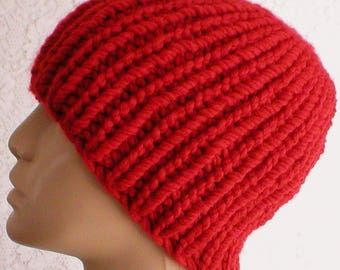Red beanie hat mens womens red knit hat ribbed beanie hat red toque mens  womens winter hat longshoremans hat mens womens red beanie hat 2a1dc850d2