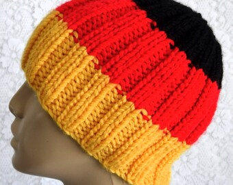 Gold red black striped beanie hat ribbed beanie hat mens womens knit hat  German flag hat mens womens winter hat beanie hat color block hat b095693462