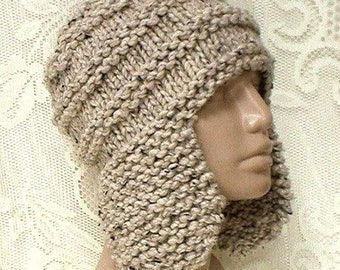 fc7c5a02 Oatmeal tweed earflap hat trapper cap mens womens winter hat oatmeal beanie  hat toque mens womens knit hat chunky knit hat ski toboggan hat