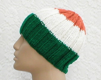 373e4caeddc Green white orange striped beanie hat Irish flag hat mens womens knit hat  chemo cap mens womens beanie hat green white orange beanie V7