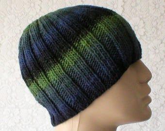 6e2a0c05f90 Beanie hat navy blue black green striped hat knit hat Black Watch tartan  look hat mens womens knit hat toque mens womens beanie chemo cap V4