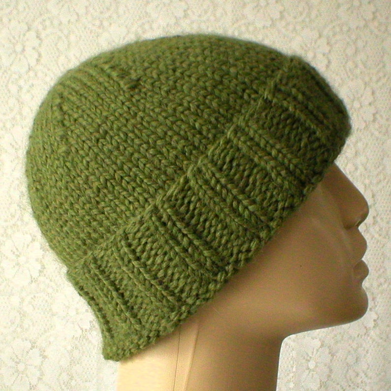 4270d6b60ab Light olive green watch cap olive green brimmed beanie hat