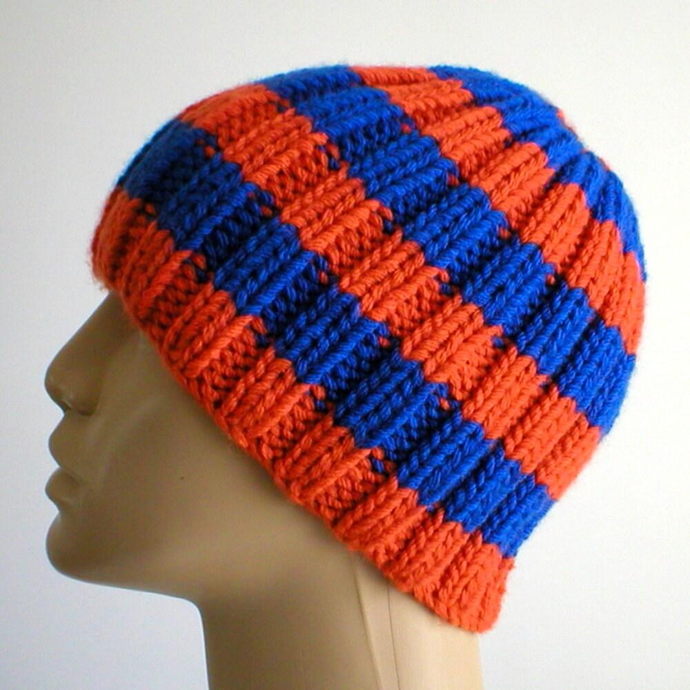1e461b7d348 Orange royal blue striped beanie hat mens womens winter hat