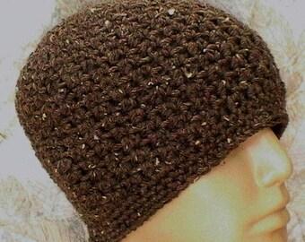 Barley taupe brown beanie hat, skull cap, toque, crochet beanie hat, brown hat, crochet hat, mens womens hat, chemo cap, biker hiking hat
