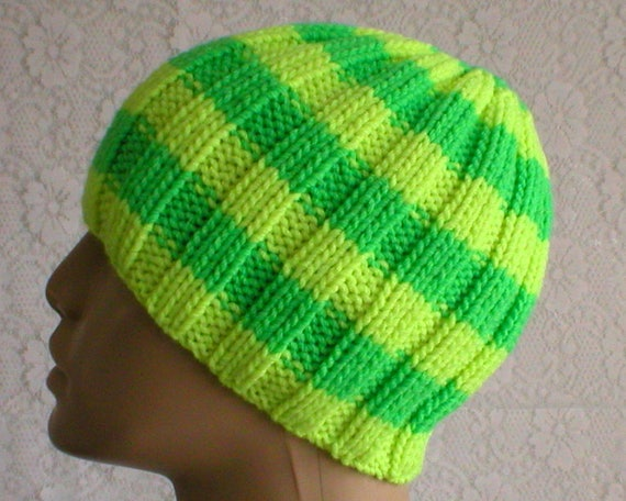 Neon yellow green beanie hat wool hat striped hat mens womens  3db75cb495