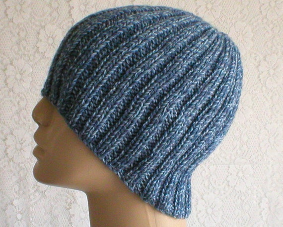 Denim blue tweed wool beanie hat mens womens blue hat blue  a2ec0fb50d0