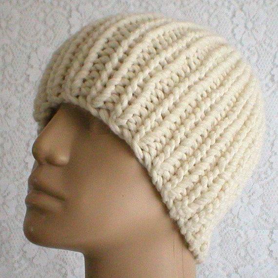 Cream ivory winter white beanie hat mens womens beanie hat  93472b972ef