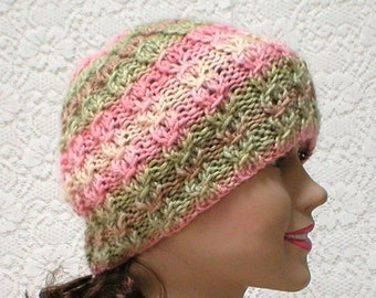 Lacy cable knit beanie hat, pink brown cream green, striped hat, womens knit hat, cable hat, chemo cap, toque, garden hat, beanie hat, hiker