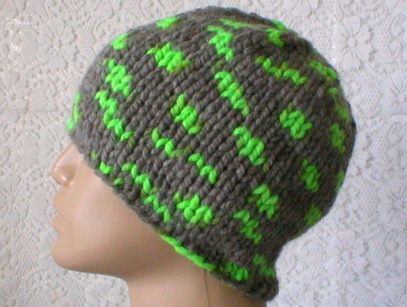 Gray neon green beanie hat mens womens knit hat toque gray  37237e1acd