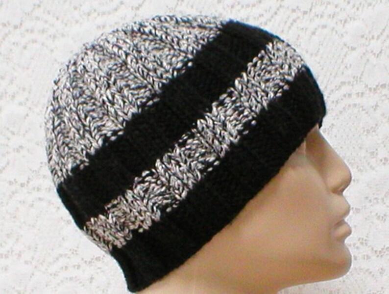 7a6cfc9e909 Black gray white tweed beanie hat mens womens knit hat striped