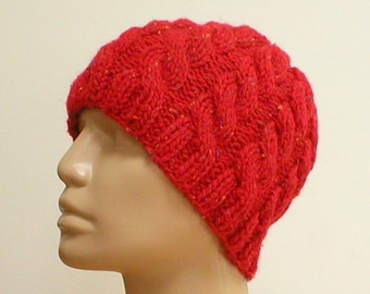 Red tweed cable knit hat, beanie hat, cable hat, red hat, winter hat, knit hat, toque, mens womens red hat, chemo cap, red cable hat, hiking
