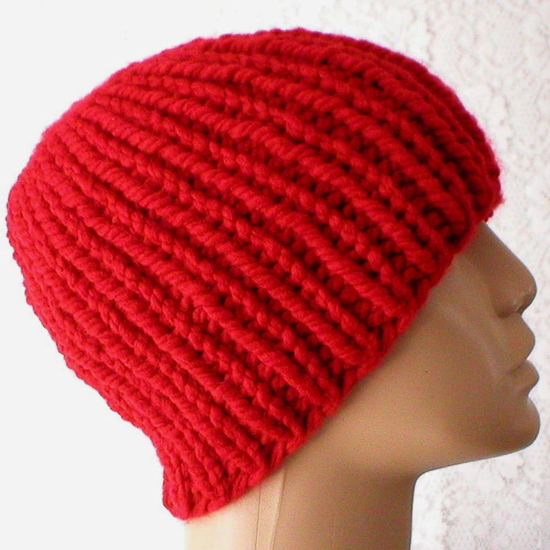 96ea46f78 Red beanie hat mens womens red bulky knit hat ribbed beanie hat mens womens  winter hat red mariners cap mens womens red beanie hat chemo cap