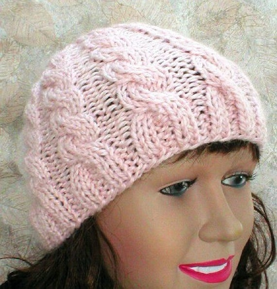 a69475ec0c2 Blush pink cable knit beanie hat alpaca hat pink hat cable hat