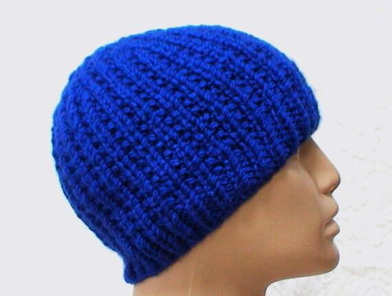 Royal blue beanie hat blue skully mens womens winter hat blue  55b52c577bf