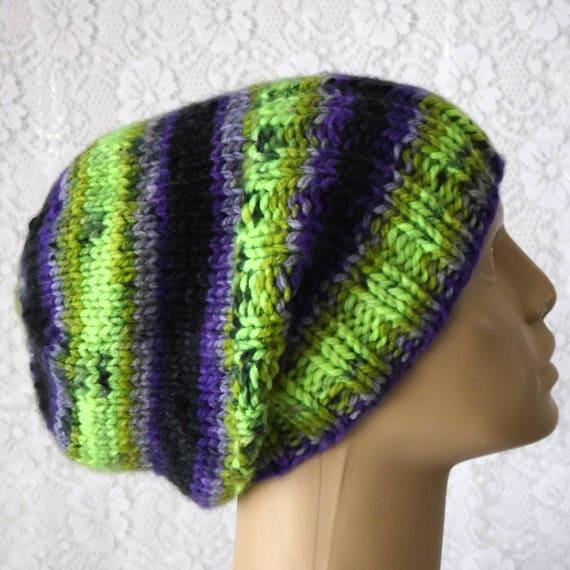c02d2519c41 Purple green black slouchy hat watch cap brimmed beanie hat