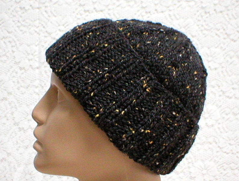 7809708b49c Charcoal gray tweed watch cap brimmed beanie hat slouchy hat