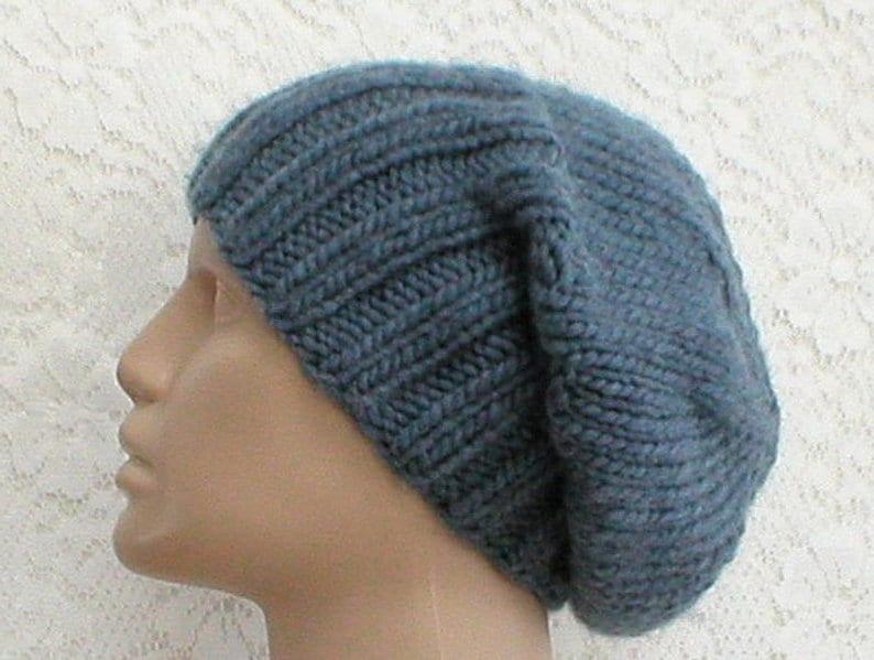 353ee0663e502 Denim blue slouchy hat watch cap brimmed beanie hat mens