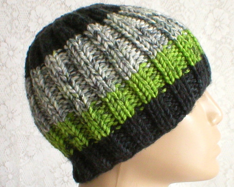 bfa1795908857 Green black white gray tweed ribbed beanie hat striped hat