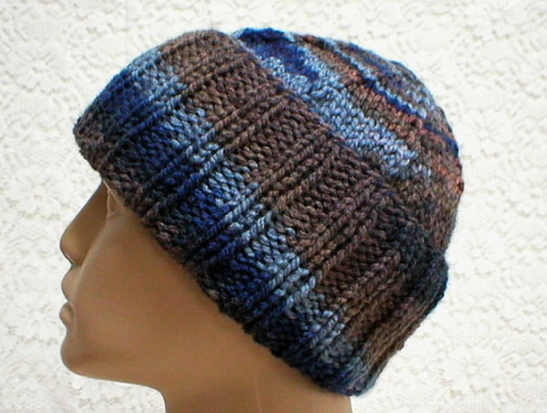42955ae67 Blue brown slouchy hat watch cap brimmed beanie hat mens womens knit hat  blue brown toque mens womens winter hat blue brown beanie hat